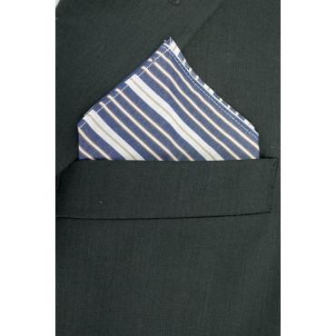 Pochette Fazzoletto Taschino Uomo Azzurro Righe Bianche Cotone