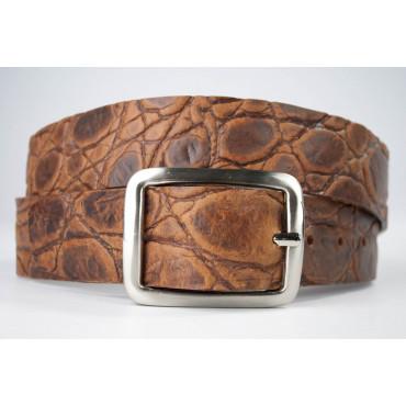 Cintura Marrone cuoio stampato coccodrillo lunga 125 cm  - taglie forti