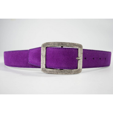 Cintura Rosa Ciclamino in pelle scamosciata lunga 105 cm fibbia cromata satinata- taglie forti