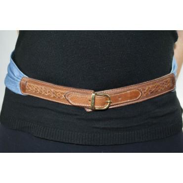 Cintura Arfango a fascia in pelle Marrone e tessuto Jeans morbido lunga 80 cm fibbia dorata