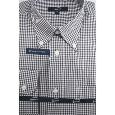 Camicia Uomo Bianca Quadretti Nero ButtonDown  - M 40-41 - vestibilità classica