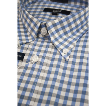 Camicia Uomo Bianca Quadri Azzurro Grigio ButtonDown  - L 42-43 - vestibilità classica