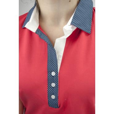 Coveri Polo Donna M 44 Rosso colletto Blu Pois
