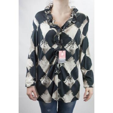 Camicia Donna Scacchi Nero XXL Rouches - Pierre Cardin