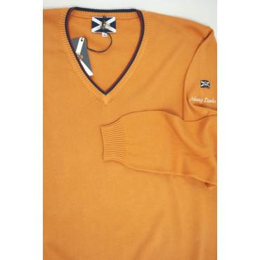 JOHNNY LAMBS Pullover Estivo ScolloV Tennis XL 52 Arancione - Cotone