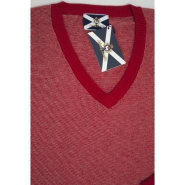JOHNNY LAMBS Pullover Estivo ScolloV XXL 54 Rosso - Cotone Seta