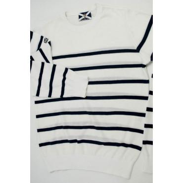 JOHNNY LAMBS Pullover Estivo Girocollo S 46 Bianco Righe Blu Orizzontali - Cotone