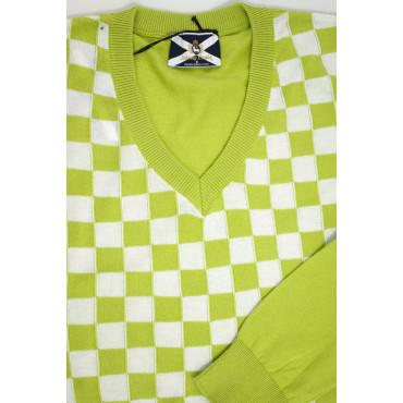 JOHNNY LAMBS Pullover Estivo ScolloV XXL 54 Verde Acido Scacchi Bianco - Cotone