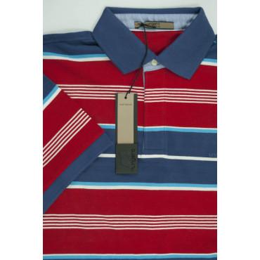 Ungaro Knitwear Polo Uomo M 48 a righe orizzontali rosse e blu - Mezze Maniche
