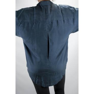 Camicia Pura Seta Stonewash Blu Scuro Tintaunita - M - Manica Lunga