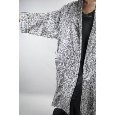 Vestaglia Kimono Donna Pura Seta Bianco Nero Arabesque - S M L