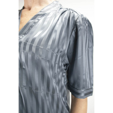 Camicia da Notte Lunga Pura Seta Grigio - Raso a Righe -S M L