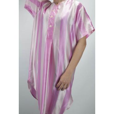 Camicia da Notte Raso Pura Seta Righe Rosa Fucsia - Raso a Righe - M