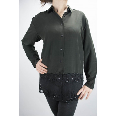Shirt Woman Black Pure Silk Lace Sleeves - M
