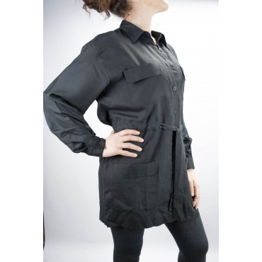 Saharan Shirt Long Women Black M 100% Pure Silk