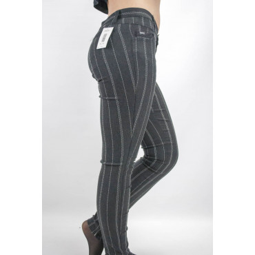 Jeggins Pantaloni Donna tg 42 Stretch Nero Gessato Bianco