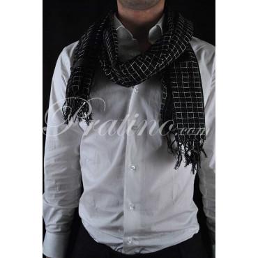 BASILE Sciarpa Uomo Puro Cotone 170x50 Quadretti Blu Beige -  Cravatte ed Accessori