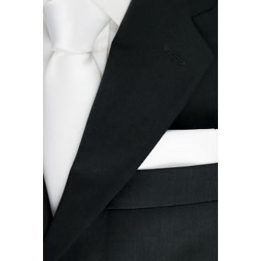 Cravatta + Fazzoletto Taschino Pochette Bianco Tintaunita - Raso Seta Lucido