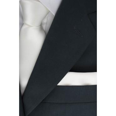 Cravatta + Fazzoletto Taschino Pochette Bianco Avorio Tintaunita - Raso Seta Lucido