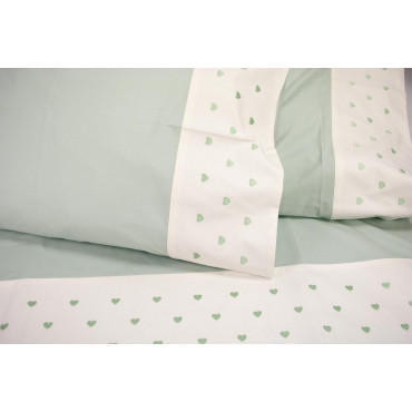 Sheets Double Green Embroidery Hearts 240x290 Under the corners by 170x200 7801