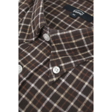 Camicia Uomo Flanella L 42-43 Marrone Quadretti Beige e Arancio collo ButtonDown