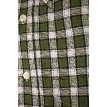 Camicia Uomo Flanella Verde Quadretti Bianco collo ButtonDown
