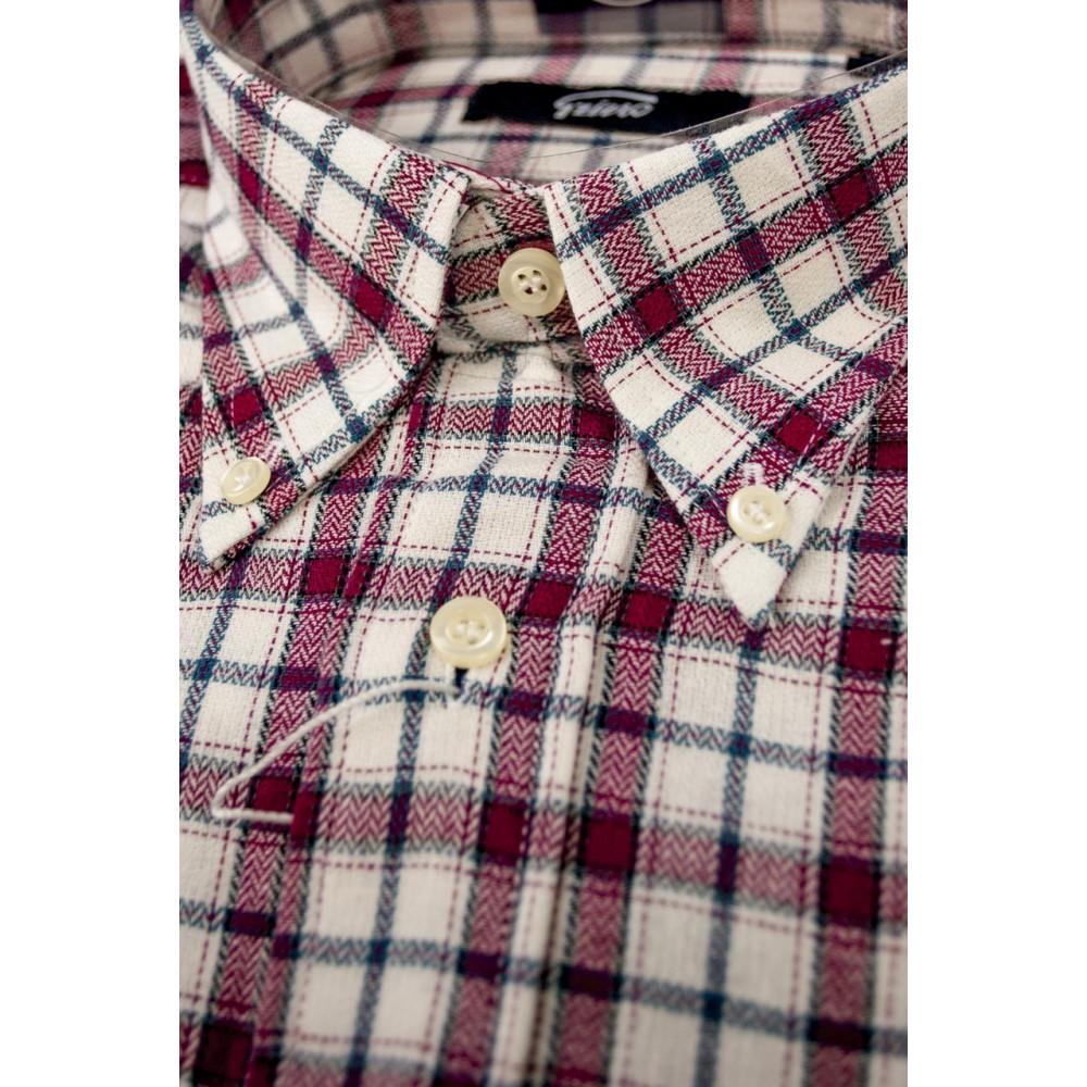 24b33c4b0e0b à Blanc de Carreaux Homme 40 ButtonDown chemise M Flanelle cou Rouge 41  OwF0w8W