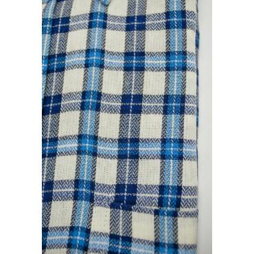 Camicia Uomo Flanella Bianco Quadretti Azzurro e Bluette collo ButtonDown