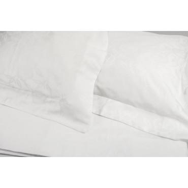 Lenzuola Matrimoniale Raso Jaquard Bianco 245x280 sotto con Angoli 170x200 7025