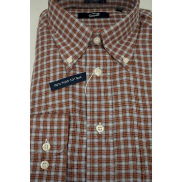 Camicia Uomo L Flanella ButtonDown Arancio Celeste Quadretti