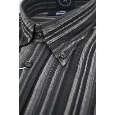 Camicia Uomo XL Flanella ButtonDown Righe Grigio Chiaro e Scuro
