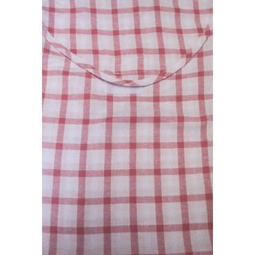 Pigiama Donna Classico L 46 Quadri Rosa su Bianco - Tessuto Flanella Leggera