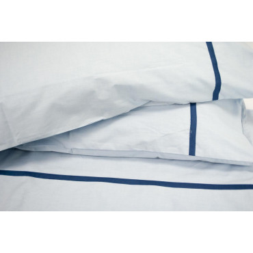 Lenzuola Matrimoniale Percalle Celeste Ajour Blu 260x290 sotto con angoli 170x200 +2 Federe sacco