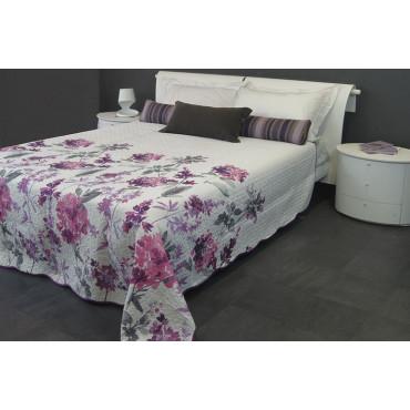 couette couvre lit matelass double rose floral violet sur blanc 260x260 boutis rembourrage pour amliorer lt - Couvre Lit Violet