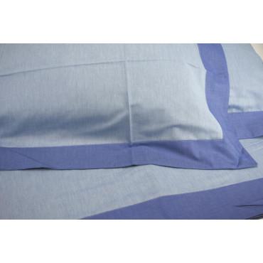 Lenzuola Matrimoniali King Size Celeste/Bluette Raso Opaco Doubleface 270x290 sotto piano 7084