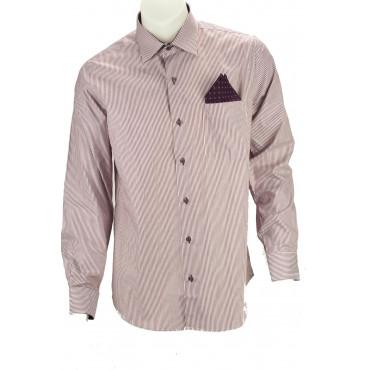 Camicia Uomo Elegante 39 15½  Azzurro tessuto armaturato senza taschino - Philo Vance