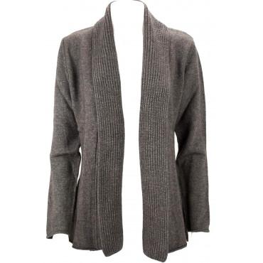 Cardigan Sciallato Aperto Donna XL Corda Merino Cachemire - Vestibilità Comoda