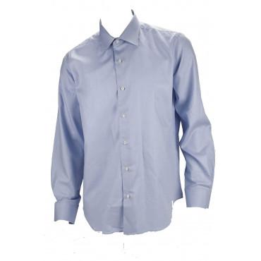 Camicia Uomo No Stiro Azzurro Tessuto Twill senza Taschino - Philo Vance - N10