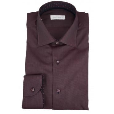 Camicia Uomo Bordeaux con Tessuto Armaturato - Philo Vance - Ravarino