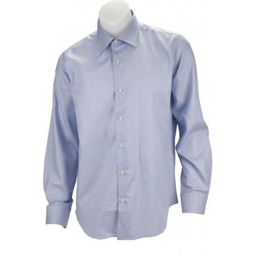 Camicia Uomo Elegante Azzurro Tessuto Armaturato Senza Taschino - Philo Vance - Conero
