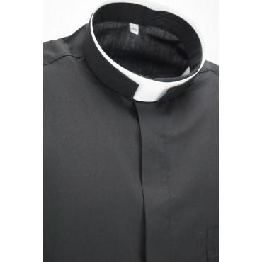 Camicia Uomo da Prete Nera Misto Cotone Popeline con Taschino