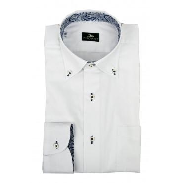 Camicia Uomo da Abito collo Business - Bianca rifiniture Blu -  con taschino