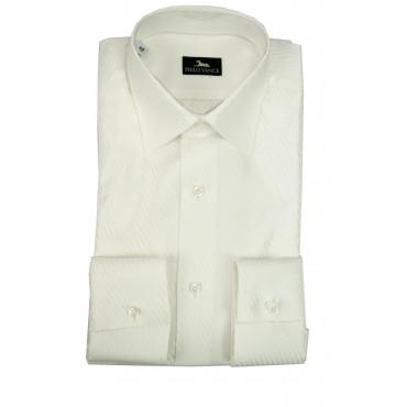 Camicia Uomo da Abito Bianca a Righe Argentate Misto Cotone Popeline - Philo Vance - Argenta
