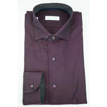 Camicia Uomo Slim Fit da Abito 41 M Francese Bordeaux - Philo Vance - Palinuro