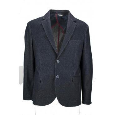 Giacca Uomo 54 Blu Scuro Indigo Panno Lana 2 Bottoni Semifoderata - Vestibilità Corta