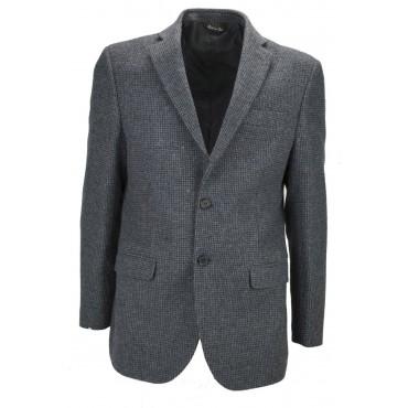 Giacca Uomo 52 Grigio Tessuto Pura Lana Quadretti 2 Bottoni Foderata - Vestibilità Asciutta
