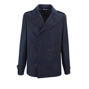 Giaccone Doppiopetto Uomo 54 Blu Scuro Panno Lana - Vestibilità Classica