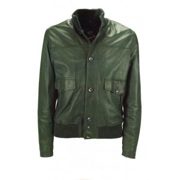 Bomber Jacket Leather Mens L Forest Green Vintage Effect - Impervela