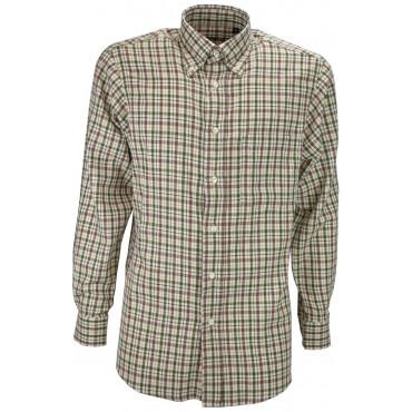 Camicia Uomo Classica Quadri Verde Marrone su Beige Flanella Leggera - Button Down - Grino