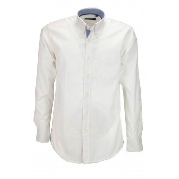 Camicia Uomo Trendy Bianca Twill Rifiniture Blu - Button Down - Grino